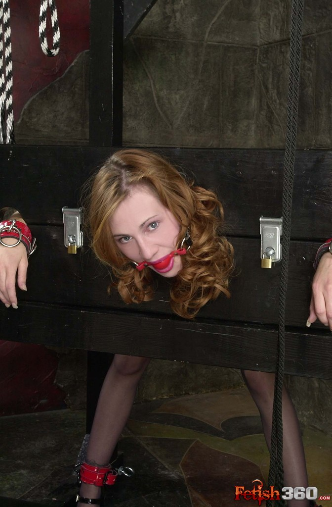 Fetish photo with college girl gagged and bound in a stockade